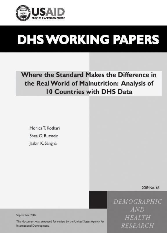 Cover of Where the Standard Makes the Difference in the Real World of Malnutrition: Analysis of 10 Countries with DHS Data (English)