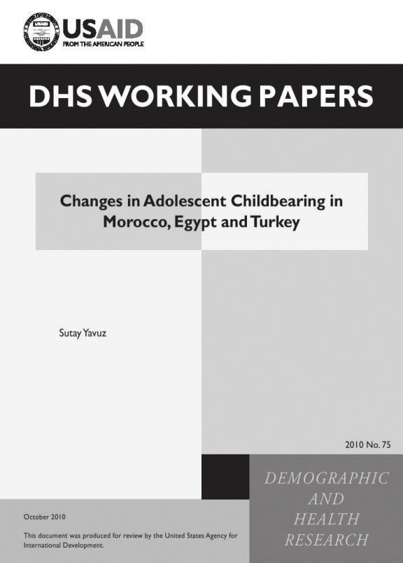 Cover of Changes in Adolescent Childbearing in Morocco, Egypt and Turkey (English)