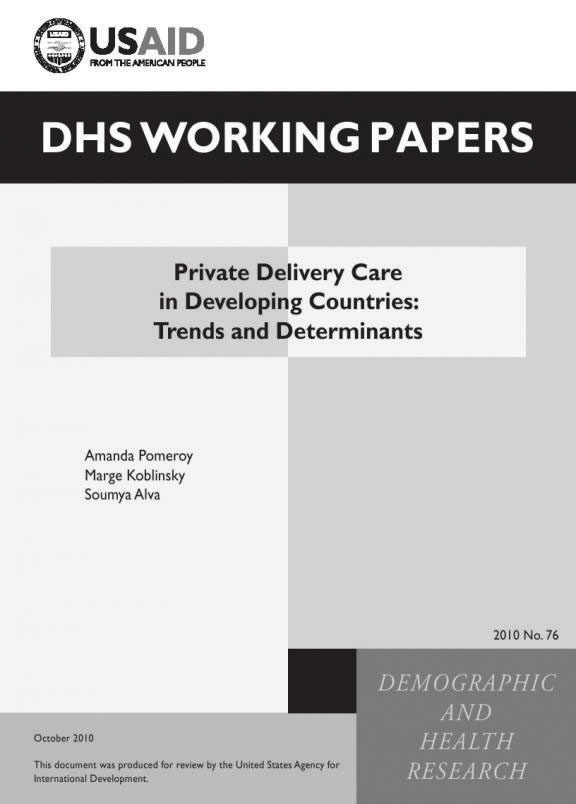 Cover of Private Delivery Care in Developing Countries: Trends and Determinants (English)