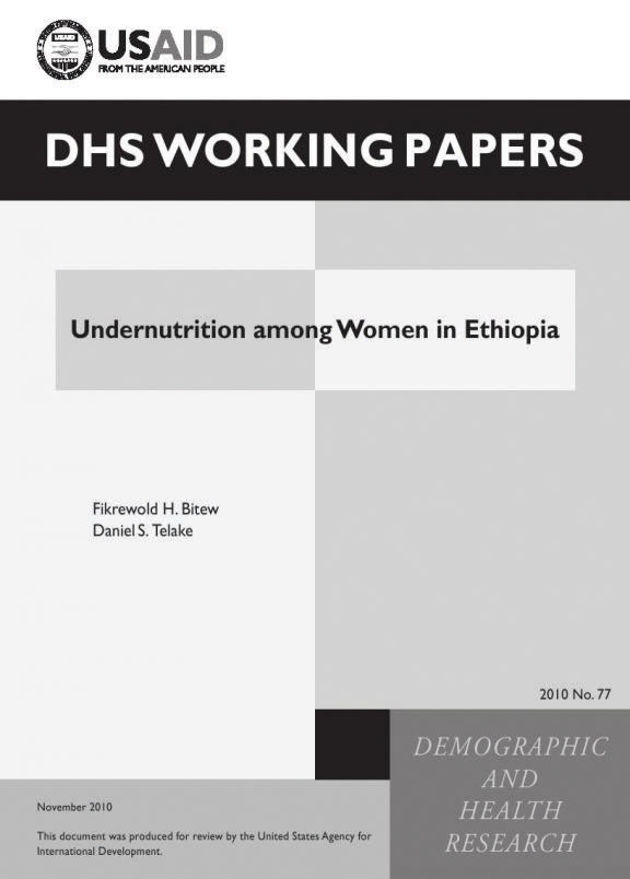 Cover of Undernutrition among Women in Ethiopia (English)