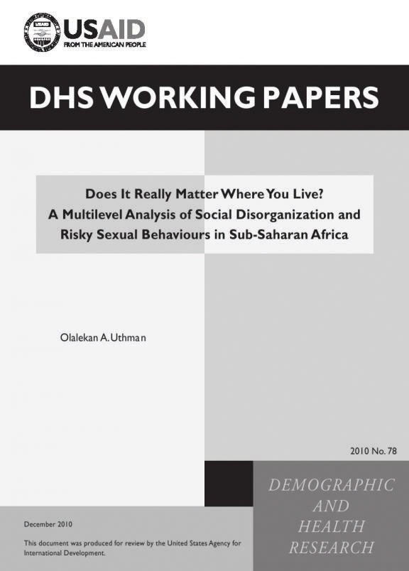 Cover of Does It Really Matter Where You Live? A Multilevel Analysis of Social Disorganization and Risky Sexual Behaviours in Sub-Saharan Africa (English)