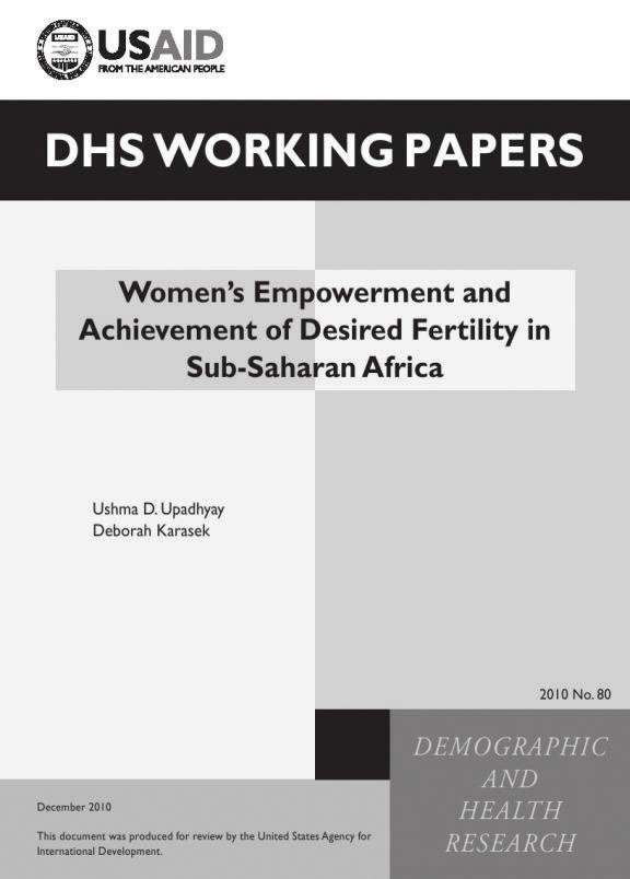 Cover of Women's Empowerment and Achievement of Desired Fertility in Sub-Saharan Africa (English)