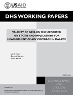 Cover of Validity of Data on Self-reported HIV Status and Implications for Measurement of ARV Coverage in Malawi (English)