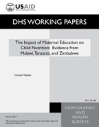 Cover of The Impact of Maternal Education on Child Nutrition: Evidence from Malawi, Tanzania, and Zimbabwe (English)