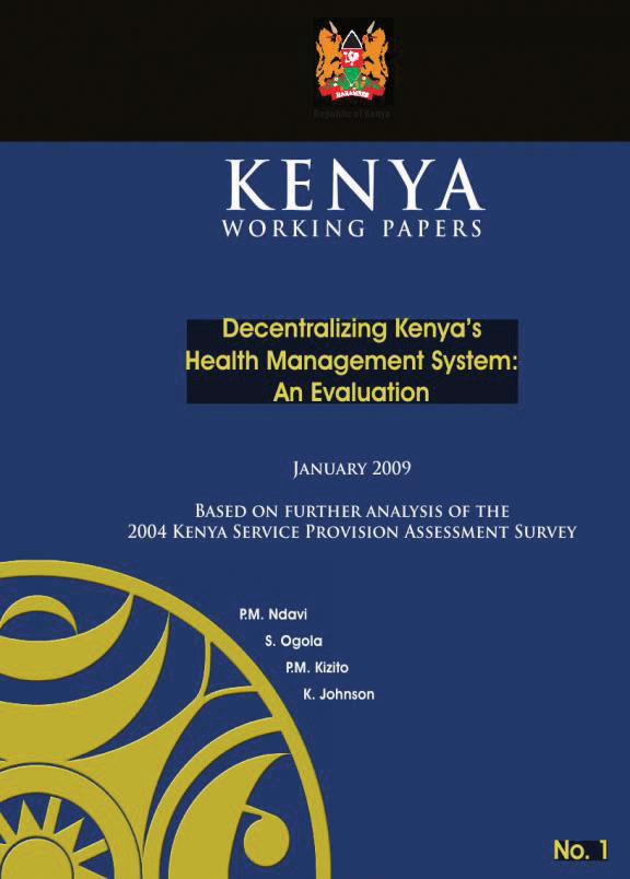 Cover of Decentralizing Kenya's Health Management System: An Evaluation (English)