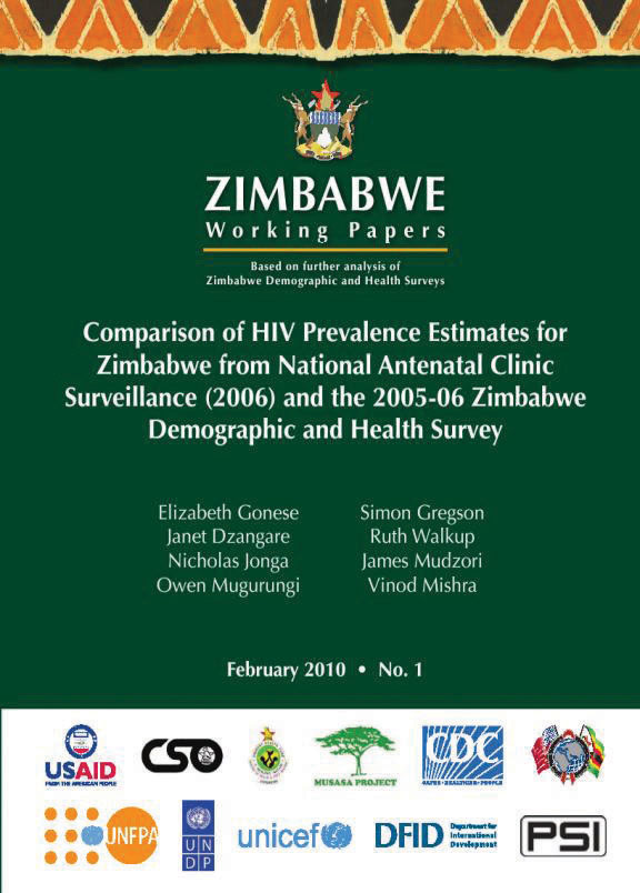 Cover of Comparison of HIV Prevalence Estimates for Zimbabwe from National Antenatal Clinic Surveillance (2006) and the 2005-06 Zimbabwe Demographic and Health Survey (English)