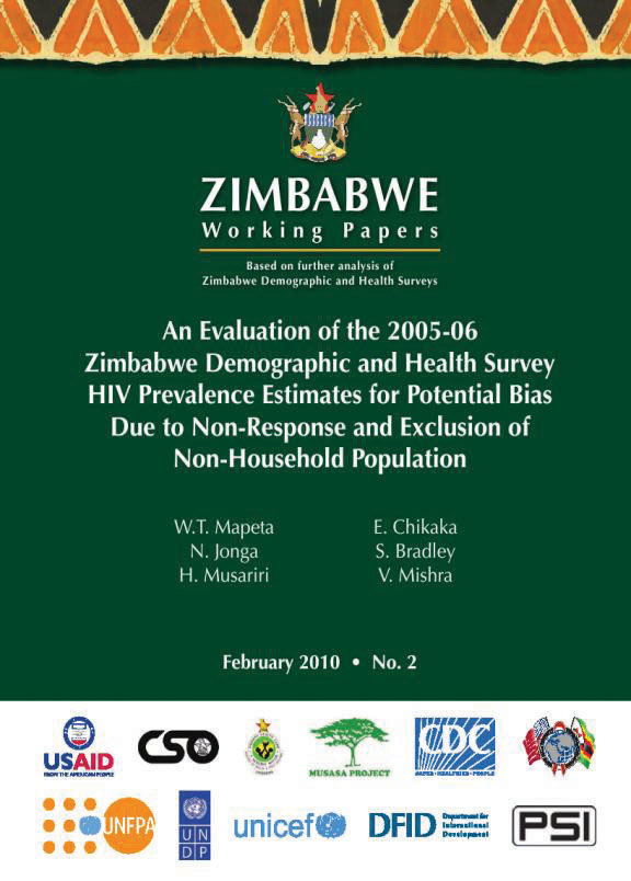 Cover of An Evaluation of the 2005-06 Zimbabwe Demographic and Health Survey HIV Prevalence Estimates for Potential Bias Due to Non-Response and Exclusion of Non-Household Population (English)