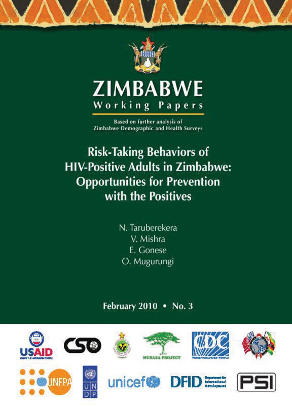 Cover of Risk-Taking Behaviors of HIV-Positive Adults in Zimbabwe: Opportunities for Prevention with the Positives (English)