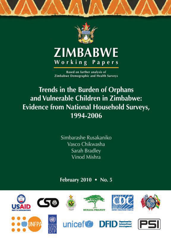 Cover of Trends in the Burden of Orphans and Vulnerable Children in Zimbabwe: Evidence from National Household Surveys, 1994-2006 (English)