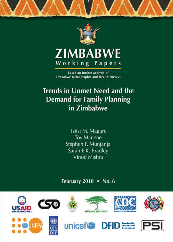 Cover of Trends in Unmet Need and the Demand for Family Planning in Zimbabwe (English)