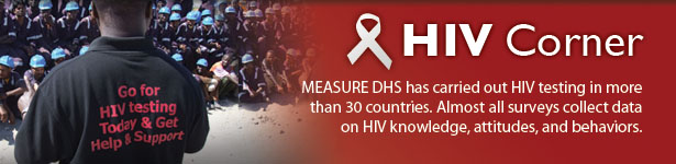 HIV Corner. MEASURE DHS has carried out HIV testing in more than 30 countries. Almost all surveys collect data on HIV knowledge, attitudes, and behaviors.  (Photo credit: © 2007 Fotodan, Courtesy of Photoshare)