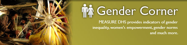 Gender Corner. MEASURE DHS provides indicators of gender inequality, women's empowerment, gender norms and much more. (Photo credit: © 2007 Pradeep Tewari, Courtesy of Photoshare)