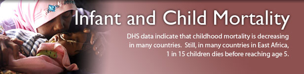 Infant and Child Mortality. DHS data indicate that childhood mortality is decreasing in many countries.  Still, in many countries in East Africa, 1 in 15 children dies before reaching age 5. (Photo credit: © 2009 Arie Basuki, Courtesy of Photoshare)