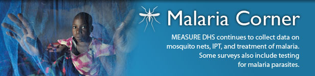 Malaria Corner. MEASURE DHS continues to collect data on mosquito nets, IPT, and treatment of malaria. Some surveys also include testing for malaria parasites. (Photo credit: © 2009 Paul Jeffrey, Courtesy of Photoshare)
